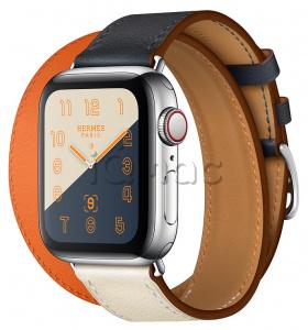 f34bf469 Apple Watch Series 4 Hermès // 40мм GPS + Cellular // Корпус из нержавеющей  стали, ремешок Double Tour из кожи Swift цветов Indigo/Craie/Orange