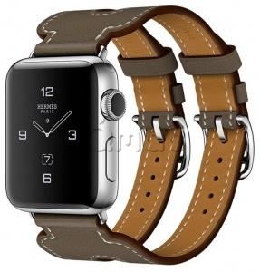 6da12aca Apple Watch Series 2 Hermès 38мм Корпус из нержавеющей стали, ремешок  Manchette из кожи Swift цвета Étoupe с двойной пряжкой