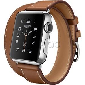ea6dad302060 Apple Watch Hermes Double Tour 38 мм из нержавеющей стали, ремешок из кожи  Barenia цвета Fauve
