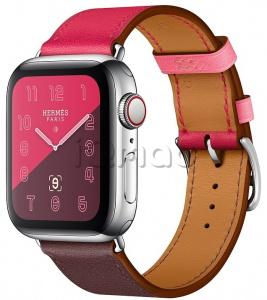 132522bd Apple Watch Series 4 Hermès // 40мм GPS + Cellular // Корпус из нержавеющей  стали, ремешок Single Tour из кожи Swift цветов Bordeaux/Rose Extrême/Rose  ...